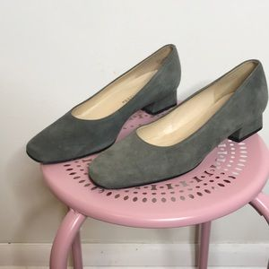 Low grey suede block heels